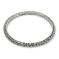 Sterling silver bangle bracelet, 'Temple' (7.5 inch) - Artisan Crafted Sterling Silver 7.5 Inch Bangle Bracelet