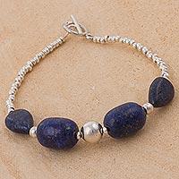 Lapis lazuli pendant bracelet, 'Galactic Blue' (Peru)