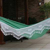 Cotton hammock, 'Emerald Icarai Hills' (double) - Green Cotton Crocheted Trim Hammock (Double)