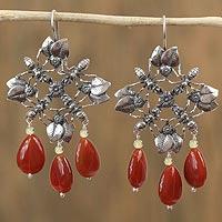 Carnelian and amber dangle earrings,