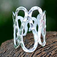 Sterling silver wrap ring, 'Meandering Stream' - Sterling silver wrap ring