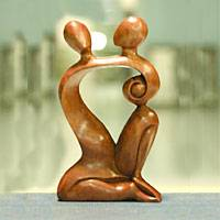 Wood sculpture, 'Dreaming of You' - Indonesian Romantic Wood Sculpture