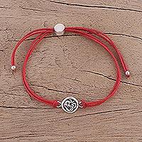 Sterling silver pendant bracelet, 'Om Saga in Red' (India)
