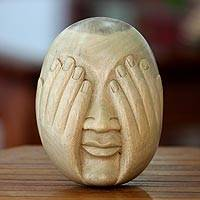 Wood mask, 'See No Evil' - Hibiscus Wood Wall Mask
