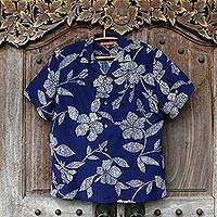 Men's cotton and silk blend shirt, 'Hawaiian Hibiscus' - Men's Cotton Silk Blend Hawaiian Hibiscus Print Shirt