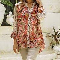 Rayon blouse, 'Garden Blooms' - Garden Blooms Print Rayon Button Front Tunic