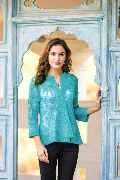 Embroidered sheer jacket, 'Island Breeze' - Floral Swirl Embroidered Sheer Turquoise Jacket
