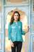Embroidered sheer jacket, 'Island Breeze' - Floral Swirl Embroidered Sheer Turquoise Jacket thumbail