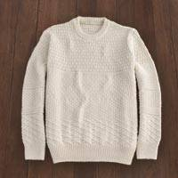 Men's Irish wool sweater, 'Bremore' - Men's Irish Textured Wool Sweater in Ivory