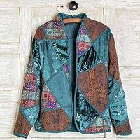 Embroidered silk blend jacket, 'Patchwork' - Embroidered Silk Blend Patchwork Jacket