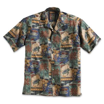 Men's cotton travel shirt, 'Aloha' - Cotton Aloha Travel Shirt
