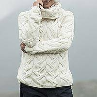 Merino wool cowl neck sweater, 'Broadhaven' - Merino Wool Cowl Neck Sweater Made in Ireland