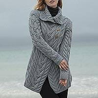 Merino wool shawl collar cardigan, 'Cliff Walk' - Irish Merino Wool Long Cardigan
