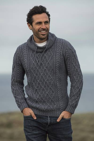 Men's merino wool funnel neck sweater, 'Westport' - Men's Merino Wool Funnel Neck Sweater from Ireland