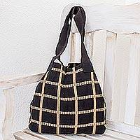 Cotton shoulder bag, 'Ebony Chic' - Cotton shoulder bag