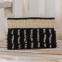 Cotton and maguey clutch handbag, 'Ebony Spirals' - Artisan Crafted Cotton Clutch Handbag
