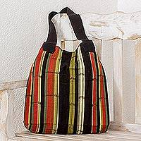 Cotton shoulder bag, 'Carnelian Forest' - Hand-Woven Cotton Shoulder Bag from Guatemala