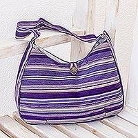 Cotton hobo bag, 'Violet Synchronicity' - Hand Woven Striped Shoulder Bag