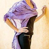 Cotton shawl, 'Purple Paths' - Hand Loomed Cotton Purple Shawl