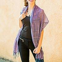 Cotton shawl, 'Paths in Pink and Blue' - Hand Woven Cotton Shawl Wrap
