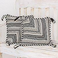 Cotton cushion covers, 'Maya Zebra' (pair) - Cotton Patterned Cushion Cover Set