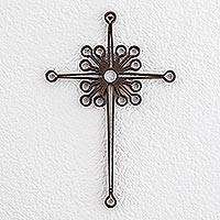 Wrought iron cross, 'Christian Dynamic' - Fair Trade Religious Metal Wall Art Cross