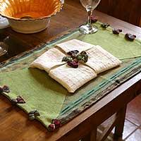 Cotton placemats and napkins, 'Jade Fantasy' (pair) (Guatemala)