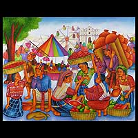 'Chichicastenango Fair' - Original Fine Art Painting