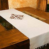 Cotton table runner, 'Strength of the Ceiba' - Cotton table runner