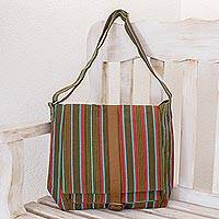 Leather accent cotton shoulder bag, 'Maya Rainbow' - Hand Made Women's Cotton Messenger Bag