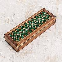 Wood and cotton box, 'Verdant Hills' - Wood and cotton box