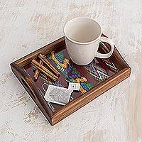 Wood and cotton serving tray, 'Maya Ducklings' - Woven Cotton Wood Serving Tray