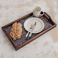 Wood and cotton serving tray, 'Maya Mystique'