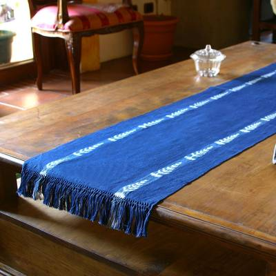 Cotton table runner, 'People of the Corn' - Artisan Woven Classic Blue Cotton Table Runner