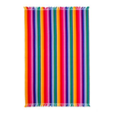 Cotton tablecloth, 'Rainbow Fantasy' - Fair Trade Cotton Table Linen