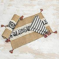 Jute and cotton placemats and napkins, 'Coban Contrasts' (pair) - Jute and cotton placemats and napkins (Pair)
