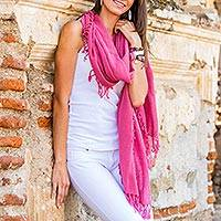 Cotton scarf, 'Sunset Red' - Cotton scarf