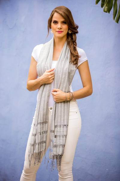 Cotton scarf, 'Mist' - Cotton scarf