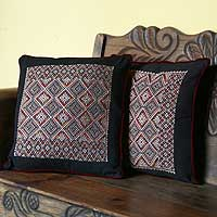 Cotton cushion covers, 'Night Stars' (pair) - Cotton cushion covers (Pair)