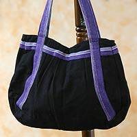 Cotton shoulder bag Midnight Sonnet Guatemala