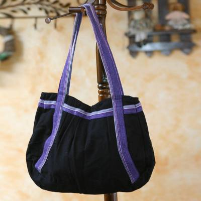 Cotton shoulder bag, 'Midnight Sonnet' - Unique Cotton Shoulder Bag