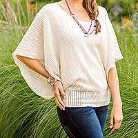 Cotton sweater, 'Gentle Dove' - Cotton sweater