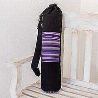 Cotton yoga mat bag, 'Antigua Enchantment' - Handmade Black Cotton Yoga Mat Bag