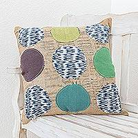 Cushion cover, 'Coffee Bean' - Unique Jute and Cotton Cushion Cover