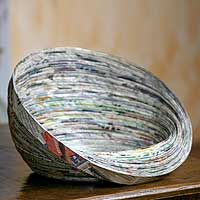 Recycled paper decorative bowl, 'Abstract News' - Recycled Paper Bowl Decorative Centerpiece