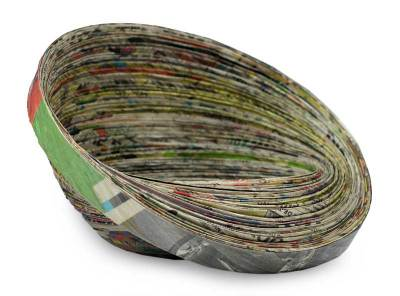 Recycled Paper Bowl Decorative Centerpiece