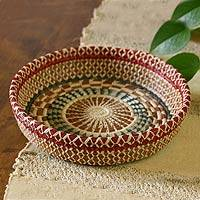 Natural fiber basket, 'Radiant Nature' - Central American Natural Fiber Basket