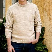 Men's cotton sweater, 'Beige Crew' - Men's Cotton Pullover Sweater from Central America