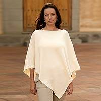 Cotton poncho, 'Ivory Grace' - Hand Made Cotton Knit Poncho
