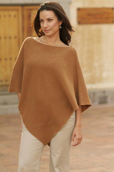 Handcrafted Tan Cotton Knit Poncho, 'Cocoa Grace'